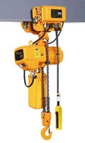 1 Ton Capacity Electric Chain Hoist, 20' Lift, 1-Speed, ELK, Motorized Trolley, 460 Volts only